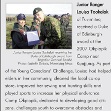 Junior Ranger Louisa Tookalak of Puvirnituq received a Duke of Edinburgh award at the 2007 Okpiapik Camp near Kuujjuaq.