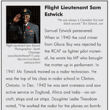 Samuel Estwick persevered. When in 1940 the coal miner from Glace Bay was rejected by the RCAF as fighter pilot material, he wrote his MP who brought the matter up in parliament. In 1941 Mr. Estwick trained as a radar technician. He was the top of his class in radar school in Clinton, Ontario.